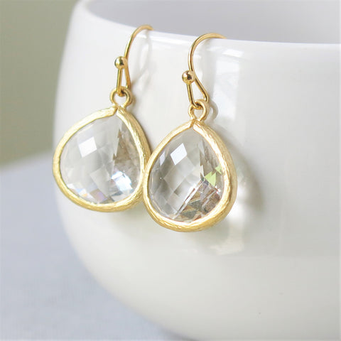 Gold Crystal Drop Earrings #1