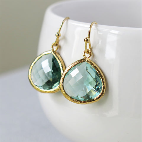 Prasiolite Gold Drop Earrings #1