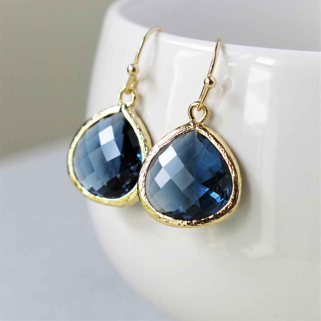 Gold Sapphire Drop Earrings #1