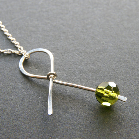 Green Ribbon Necklace . HOPE