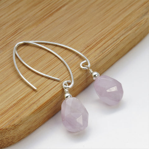 Lavender Amethyst silver elongated earrings
