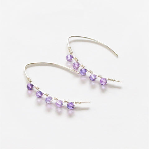 Amethyst mini curve earrings
