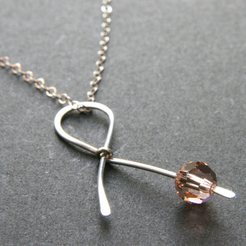 Peach Ribbon Necklace . HOPE