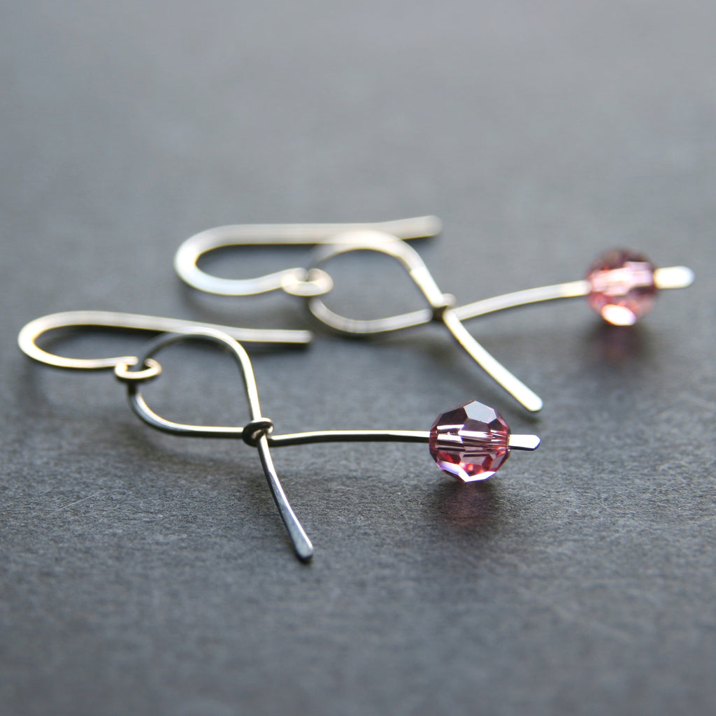 pink ribbon earrings gift for breast cancer survivor patient