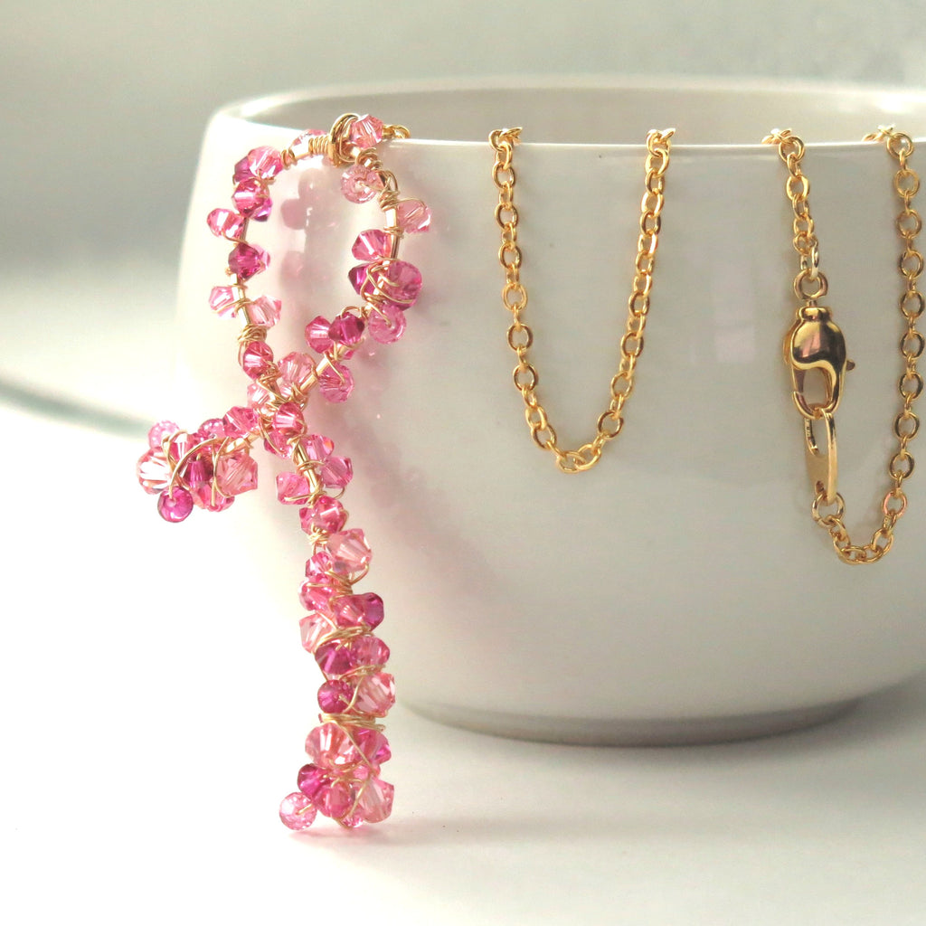pink ribbon necklace gift for breast cancer survivor patient