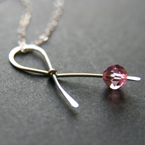 Pink Ribbon Breast Cancer Necklace . HOPE