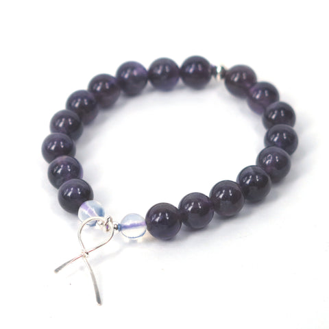 Purple Ribbon Awareness Bracelet (Amethyst)