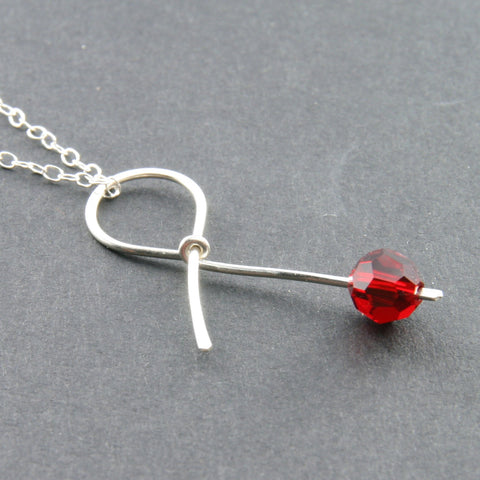 Red Ribbon Necklace . HOPE