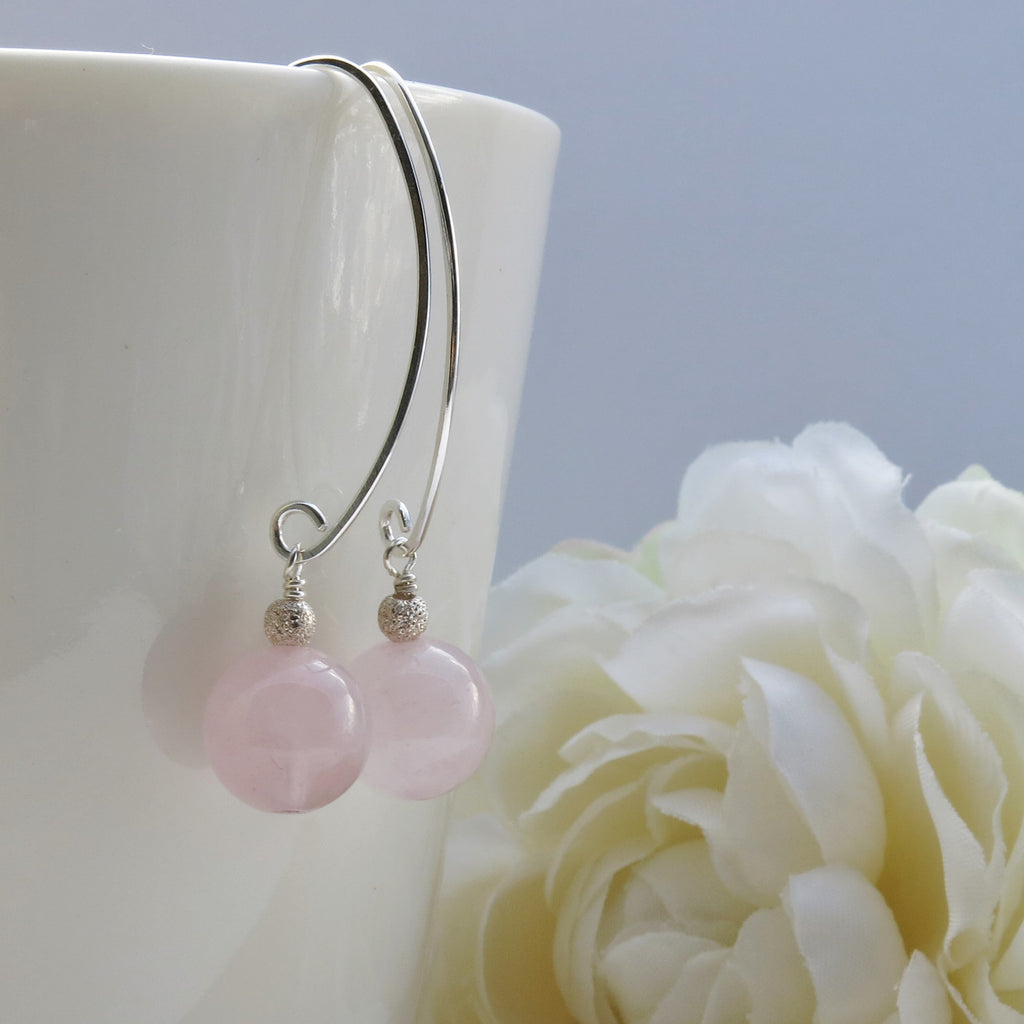 rose quartz silver elongated earrings
