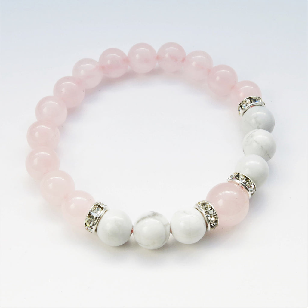 rose quartz bead bracelet