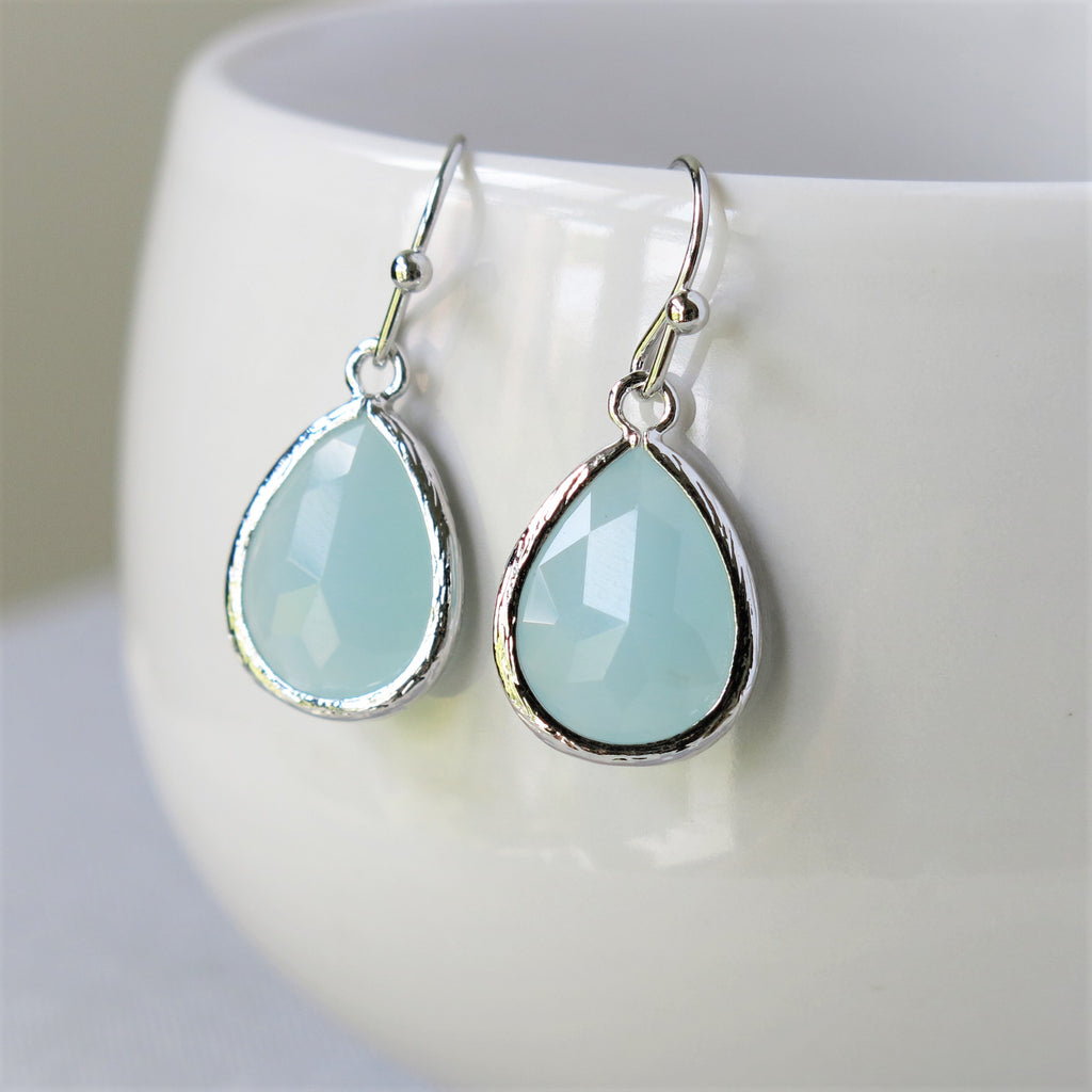 Silver Misty Blue Drop Earrings #2