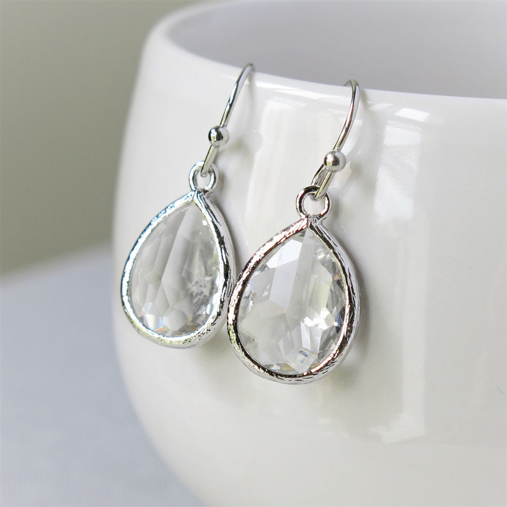 Silver Crystal Drop Earrings #2