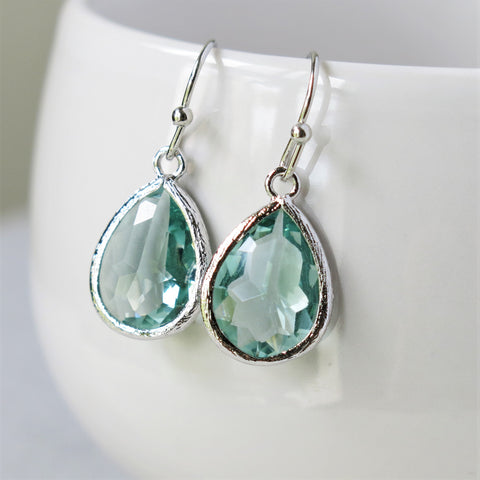 Prasiolite Green Silver Drop Earrings #2
