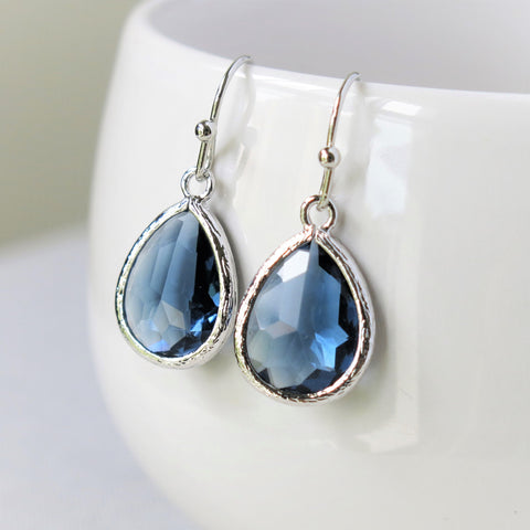 Sapphire Silver Drop Earrings #2