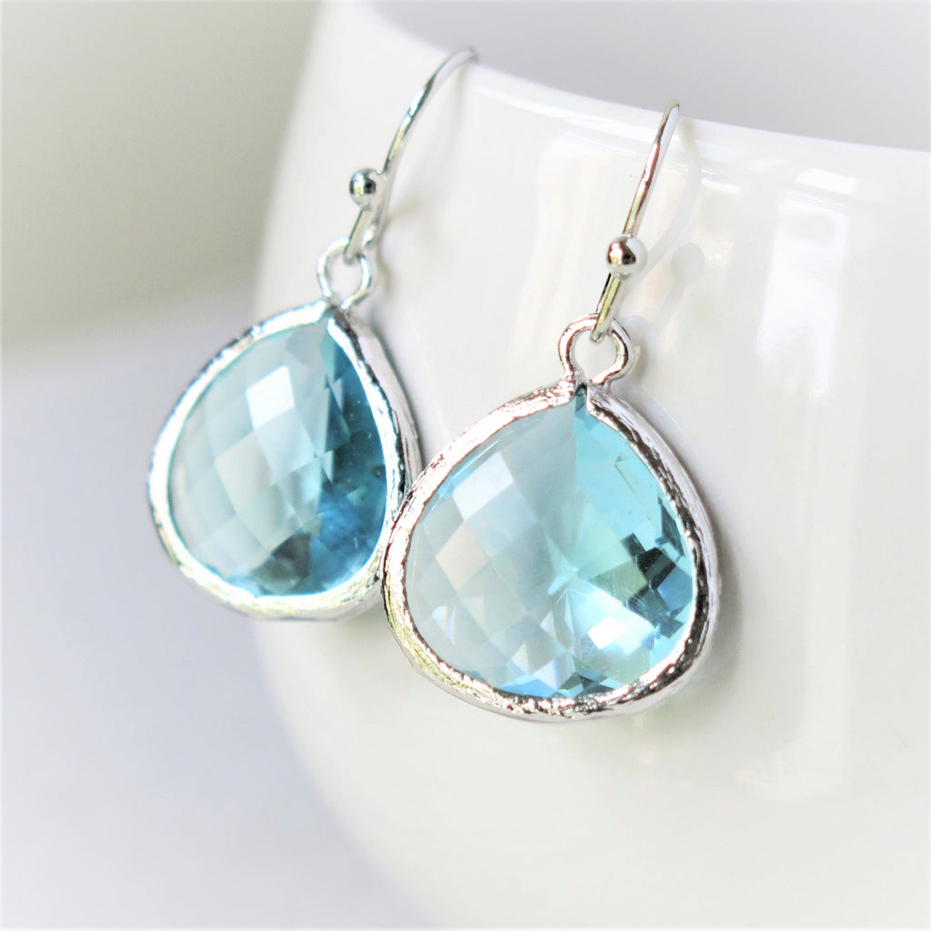 Silver Aquamarine Drop Earrings #1
