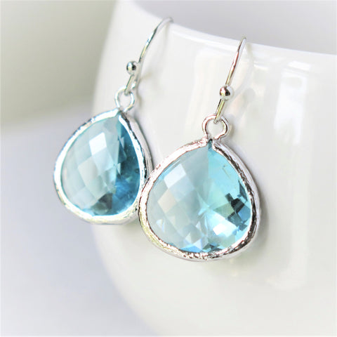 Aquamarine Silver Drop Earrings #1