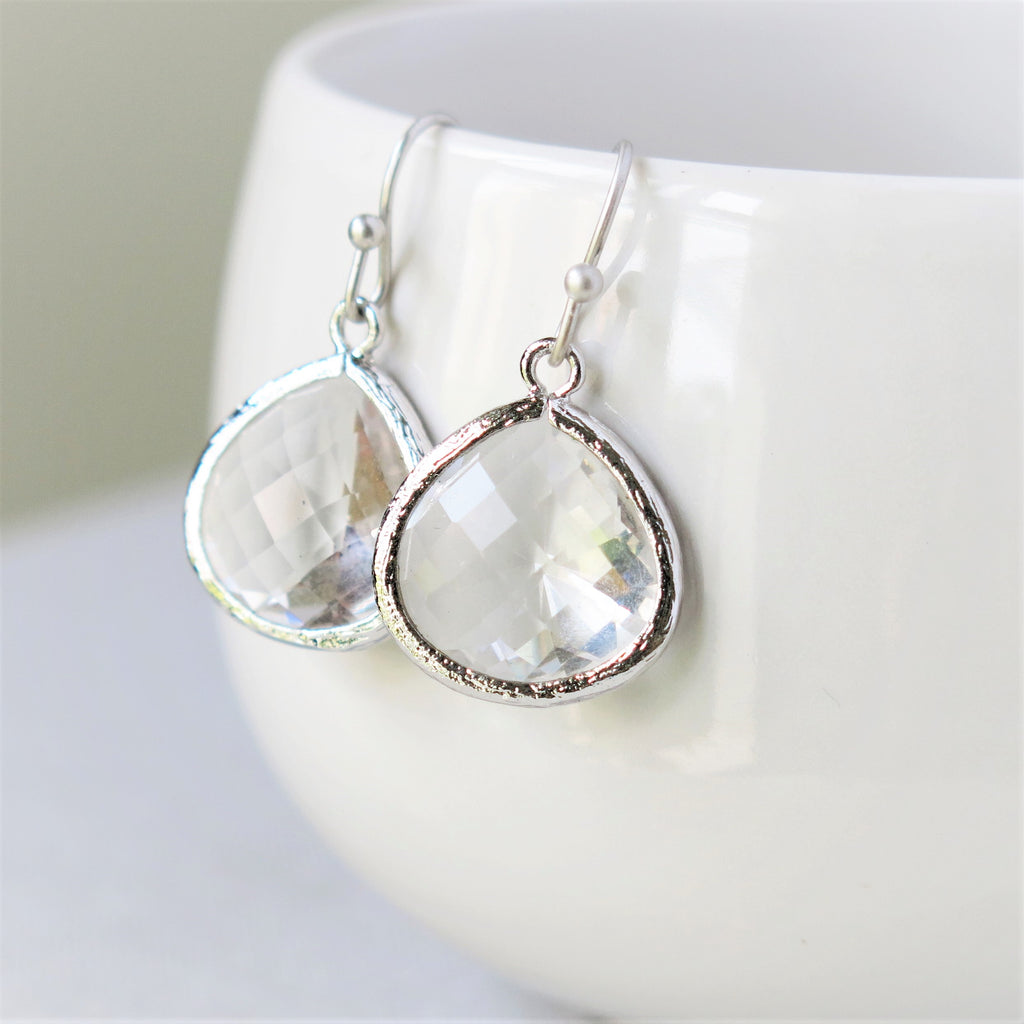Silver Crystal Drop Earrings #1