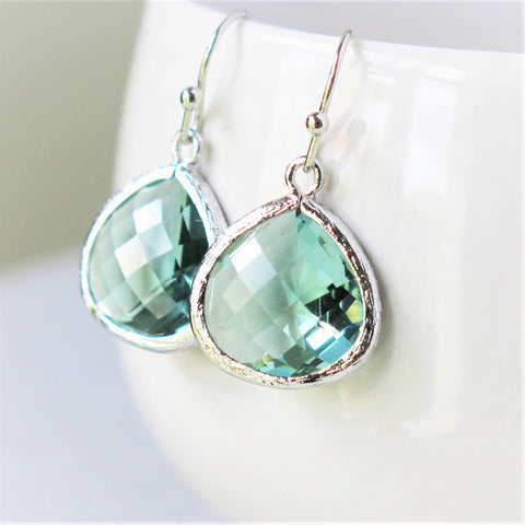Prasiolite Green Silver Drop Earrings #1