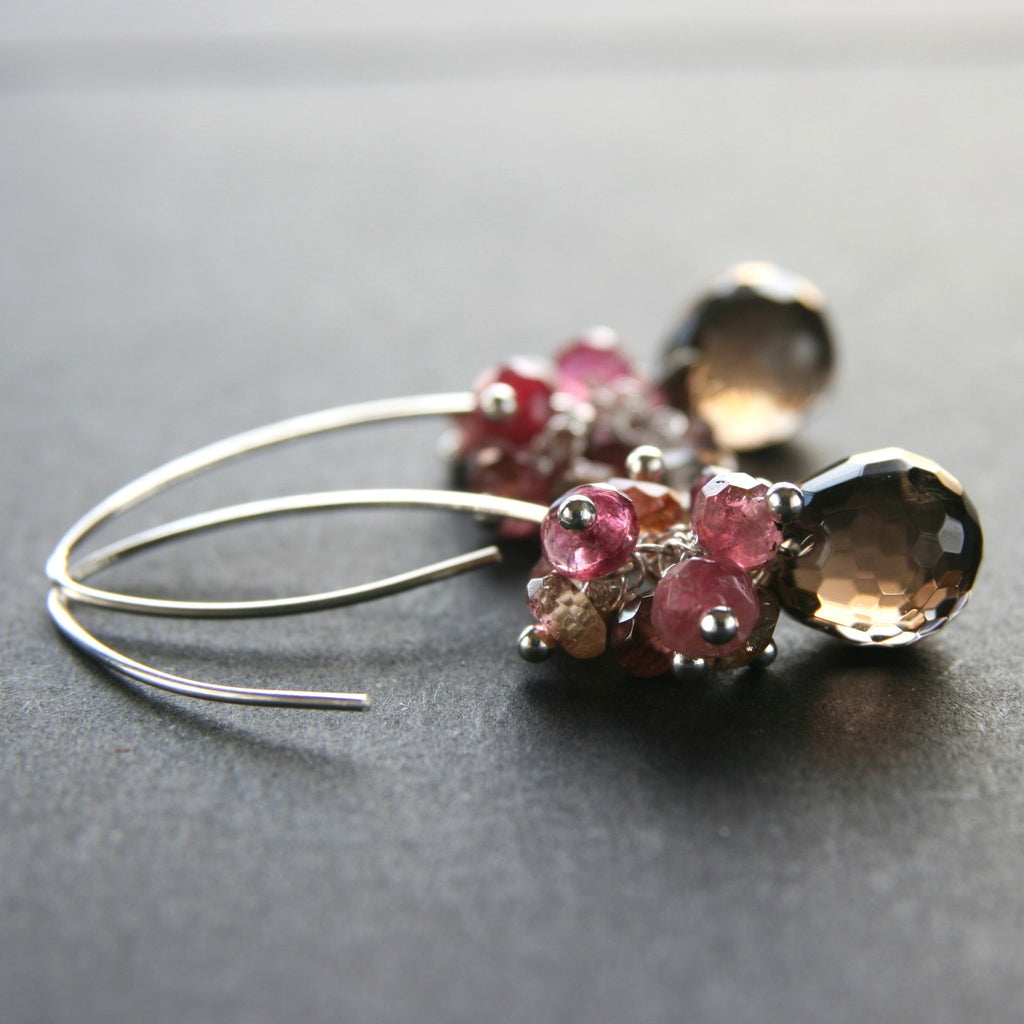 Smoky Quartz Tourmaline Cluster Earrings