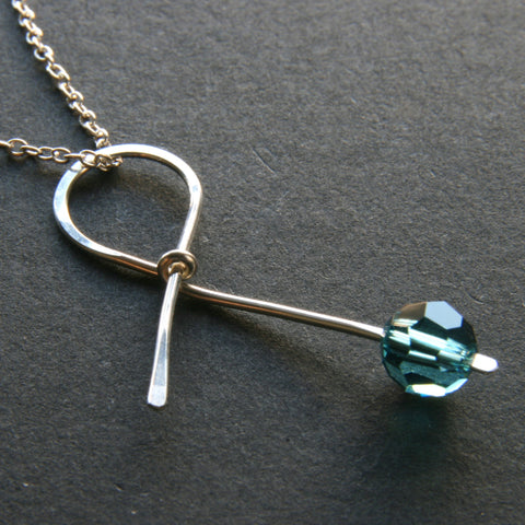 Teal Ribbon Necklace . HOPE