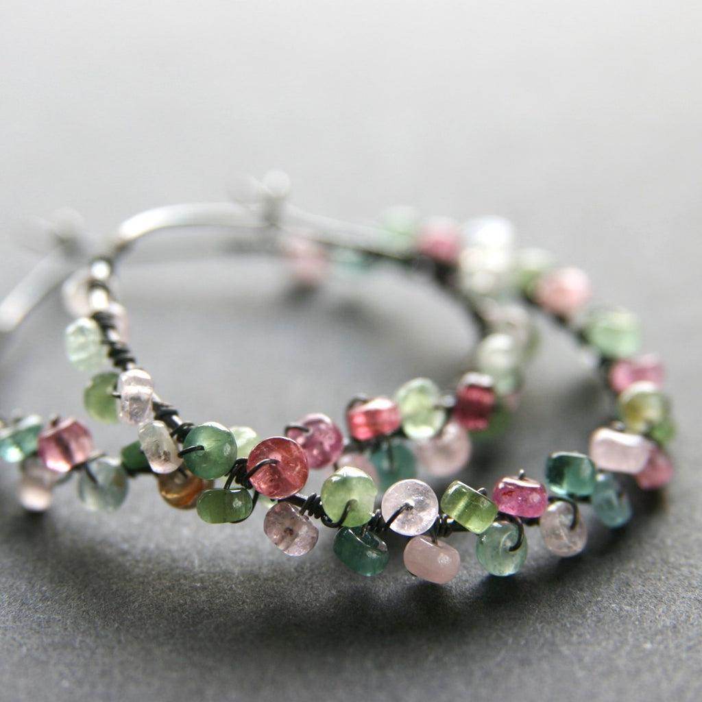 Tourmaline Wrapped Hoops