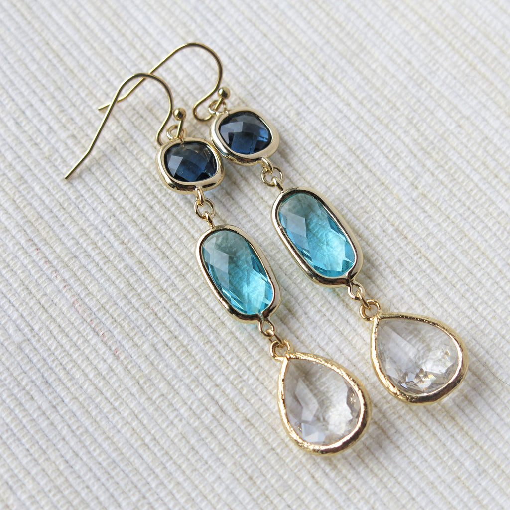 Gold Long Earrings - drops of blue