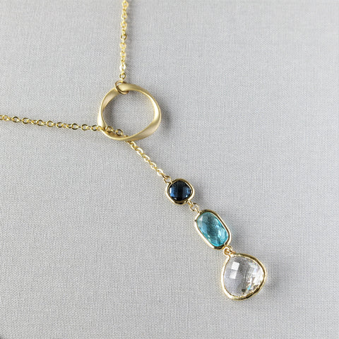 Gold Lariat Necklace - drops of blue