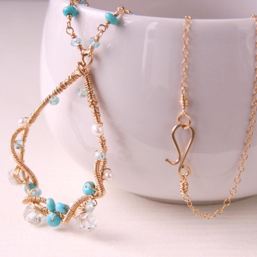 Turquoise Gold Vine Necklace