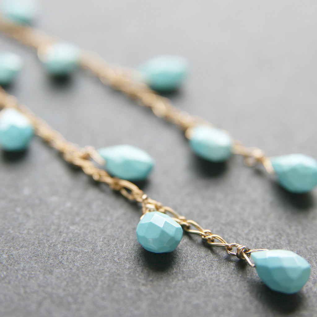 Turquoise Gold Earrings . Turquoise Rain