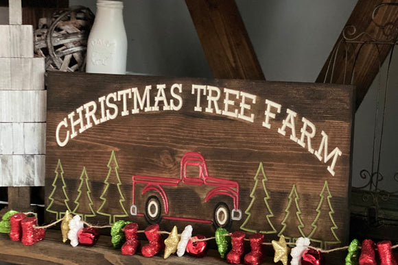 'Christmas Tree Farm' engraved sign