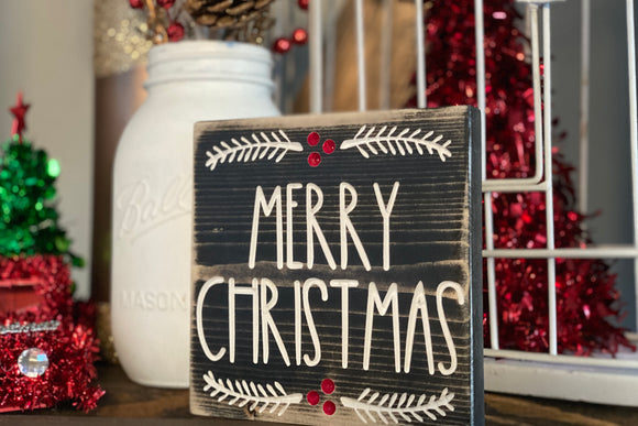 'Merry Christmas' engraved sign