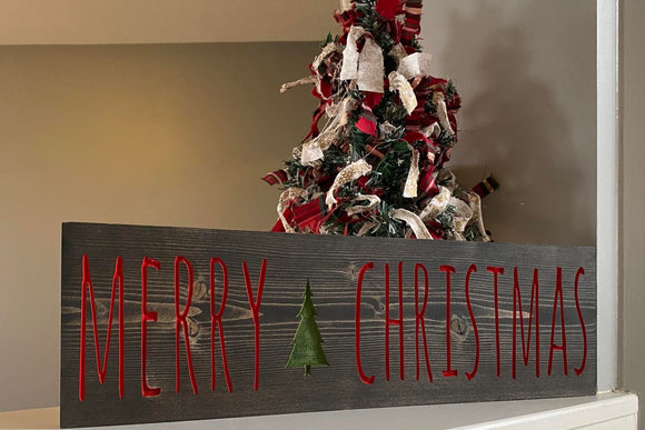 'Merry Christmas' engraved tree sign