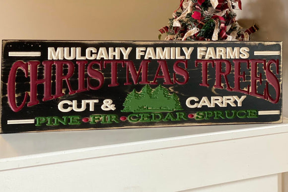 '[family name] FAMILY FARMS' engraved sign