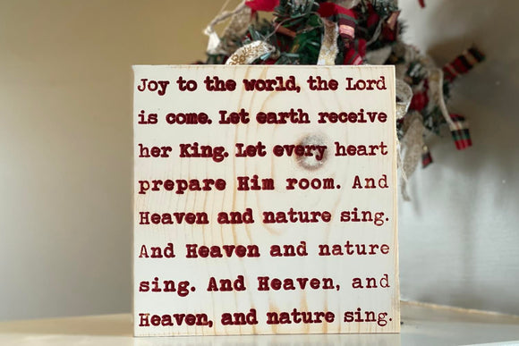 'Joy to the world' engraved sign