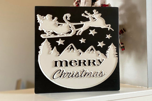 'Merry Christmas' engraved sleigh sign