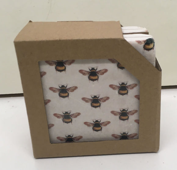 Set of 4 ceramic bee coasters