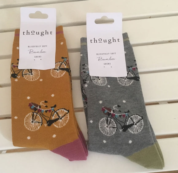 Two pairs of ladies cycle themed bamboo socks
