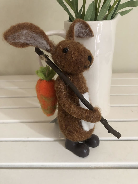 Wool mix bunny with a carrot