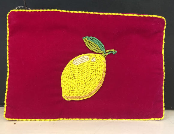 Velvet bag with embossed lemon