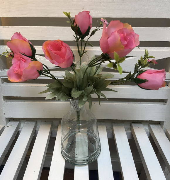 Pink rose spray with 7 roses