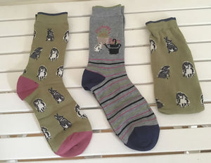 2 pairs of rabbit themed ladies bamboo socks in a gift bag