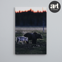 Load image into Gallery viewer, Big Wood Block, A Bear and a Wolf