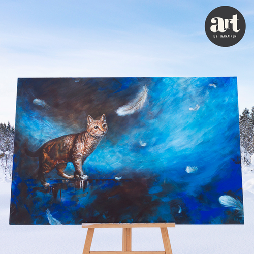 Art by Iivanainen, the artwork of Rosa Kansala, Rosa Kansalan alkuperäisteos, Kuiskaus, pieni hetki, huiskaus vain, A whisper, a moment, just a whisk, sininen suuri maalaus, a blue large painting, decorate with blue, sisusta sinisellä