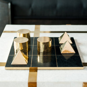 Tic Tac Toe Set - Brass and Stone