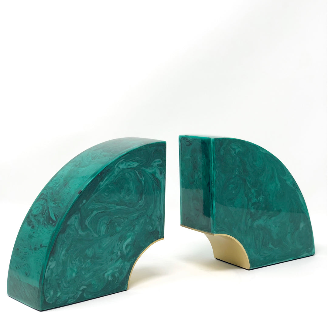Brasilia Bookends - Malachite and Brass