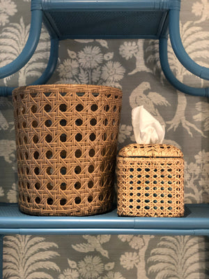 Wicker/ Cane Waste Basket and Tissue Box