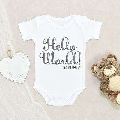 Custom Name Onesie - Baby Shower Gift - Personalized Baby Onesie - Hello World Onesie - Custom Baby Onesie