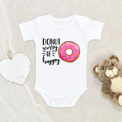 Cute Donut Baby Clothes - Donut Worry Be Happy Onesie® - Sweet Themed Baby Shower Gift