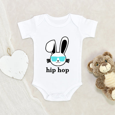 Funny Bunny Baby Clothes - Cute Hipster Easter Boys Onesie - Cute Easter Boys Gift - Hip Hop Boy Onesie