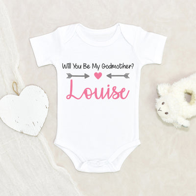 Christening Onesie - Baby Onesie - Personalized Godmother Onesie - Custom Name Baby Onesie